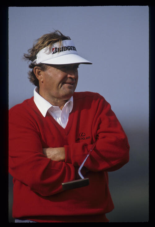 Raymond Floyd looking pensive as he waits to putt during the 1992 Open Championship