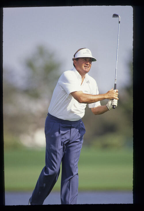 Raymond Floyd using body language on the tee during the rain shortened 1991 Nestle Invitational