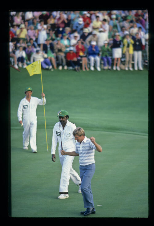 Ben Crenshaw celebrating after his final putt during the 1984 Masters