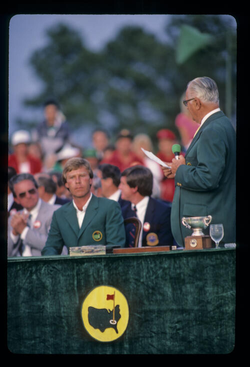 Ben Crenshaw during the 1984 Masters presentation ceremony
