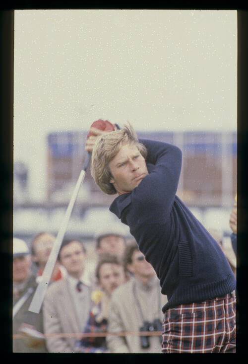 Ben Crenshaw following through after driving during the 1980 Open Championship