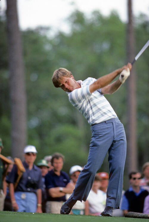 Ben Crenshaw in balance on the tee during the 1984 Masters