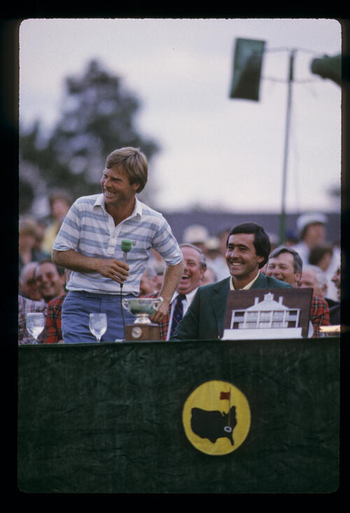 Ben Crenshaw making his victory speech during the 1984 Masters ceremony