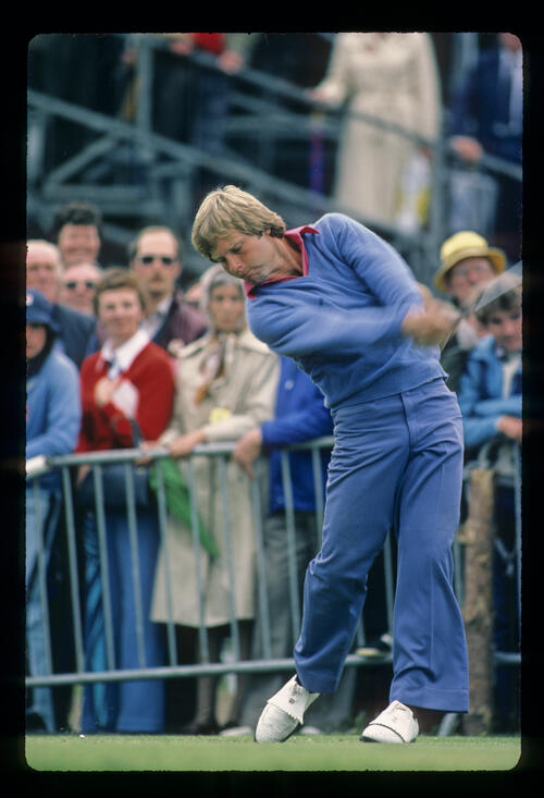 Ben Crenshaw powering through a drive during the 1980 Open Championship