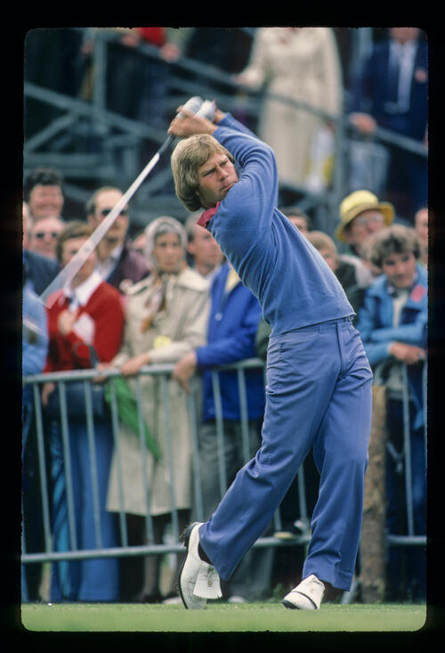 Ben Crenshaw following through after a drive during the 1980 Open Championship