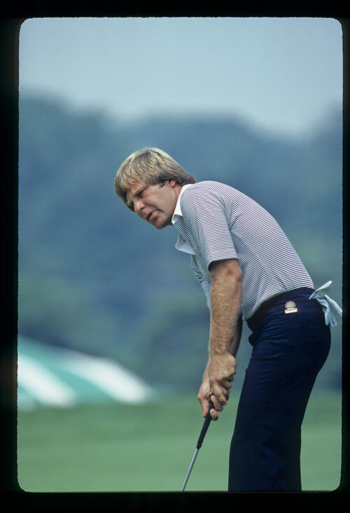 Ben Crenshaw over a putt during the 1981 US Open