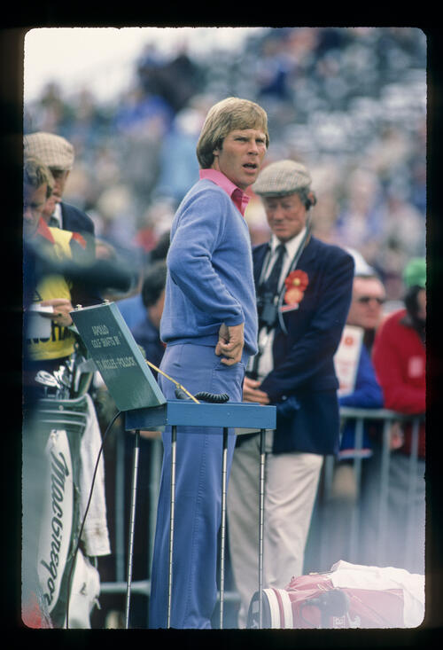 Ben Crenshaw about to start his round during the 1980 Open Championship