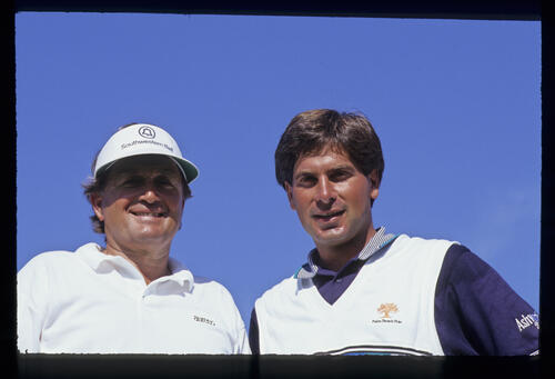 Teammates Raymond Floyd and Fred Couples; winners of the 1990 Ronald McDonald Children's Charity Tournament