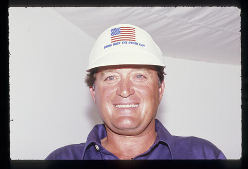 A beaming Raymond Floyd lets his Ryder Cup feelings show during the 1989 Open championship