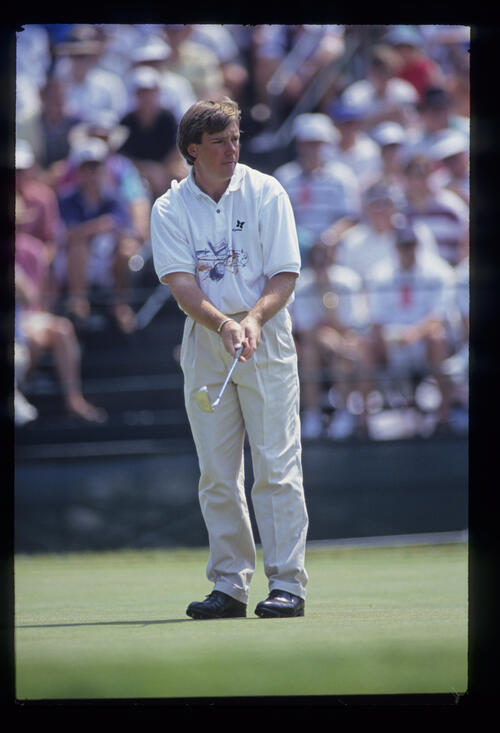 Barry Lane putting during the 1993 US Open