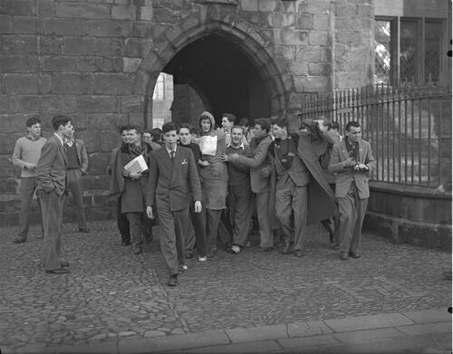 Students Rag, Raisin Monday, St Salvators tower gateway, University of St Andrews, St Andrews.
