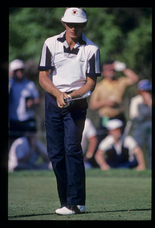 Bernhard Langer leaning after his iron shot during the 1984 USF&G