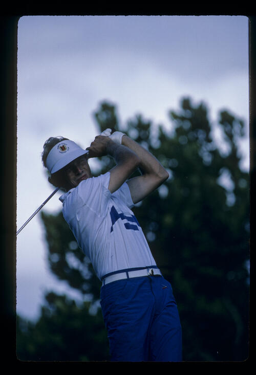 Bernhard Langer following through during the 1984 Kapalua International
