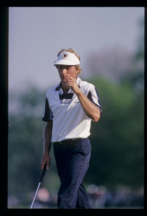 Bernhard Langer looking pensive after putting during the 1984 USF&G
