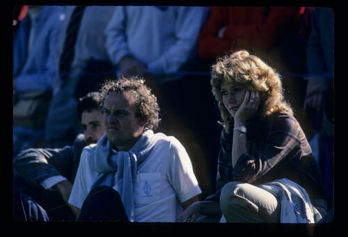 Vikki Langer watching husband Bernhard during the 1984 Suntory World Matchplay
