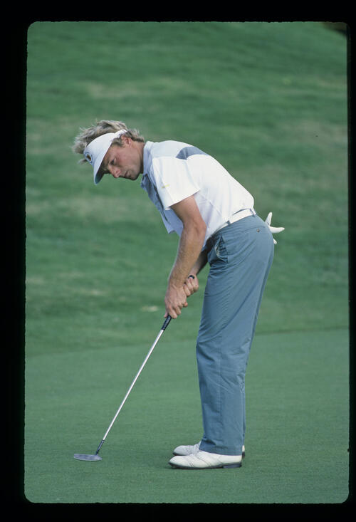 Bernhard Langer putting cross handed during the 1984 Kapalua International