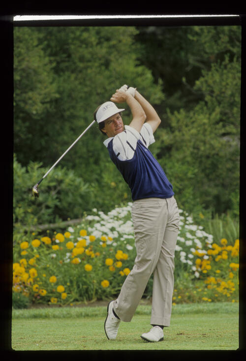 Larry Mize following through on the tee during the 1987 US Open