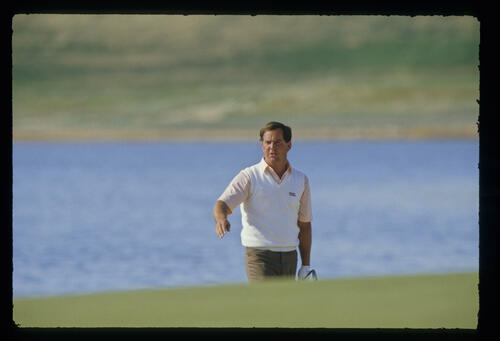 Mark O'Meara reacting to a pitch shot on his way to sixth place during the 1987 Phoenix Open