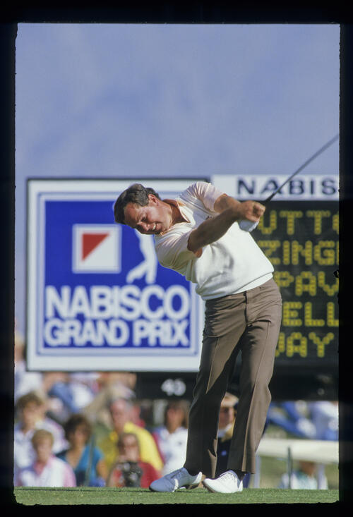 Mark O'Meara following through on his way to sixth place during the 1987 Phoenix Open