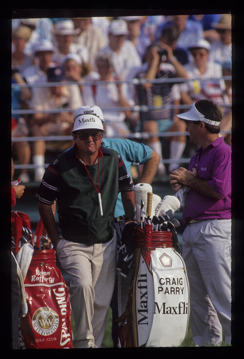 Raymond Floyd and Craig Parry waiting on the tee during the 1991 US Open