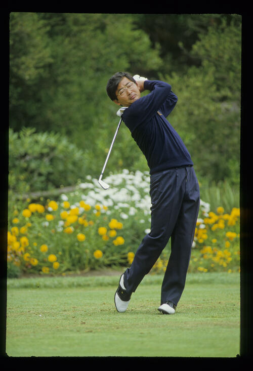 Tommy Nakajima following through on the tee during the 1987 US Open