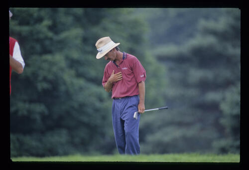 Corey Pavin looking concerned during the 1993 US Open