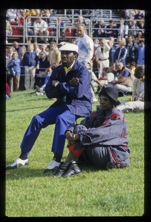 Calvin Peete and his wife spectating during the 1985 Ryder Cup