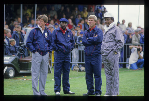 Calvin Peete and Hal Sutton during the 1985 Ryder Cup