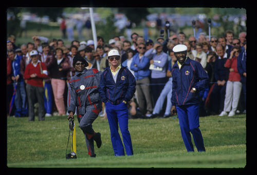 Calvin Peete, his wife and Tom Kite during the 1985 Ryder Cup