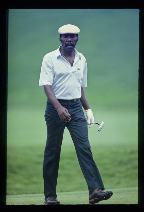 Calvin Peete looking thoughtful on the green during the 1986 USPGA