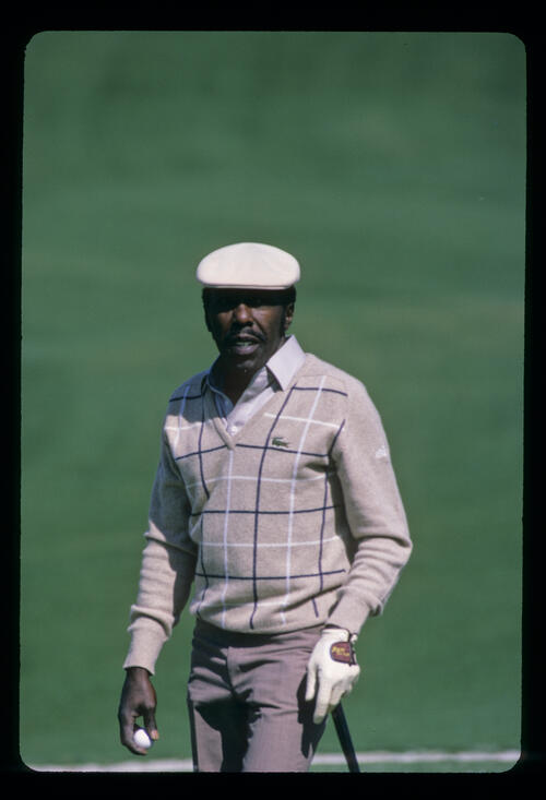 Calvin Peete on the green during the 1986 Masters