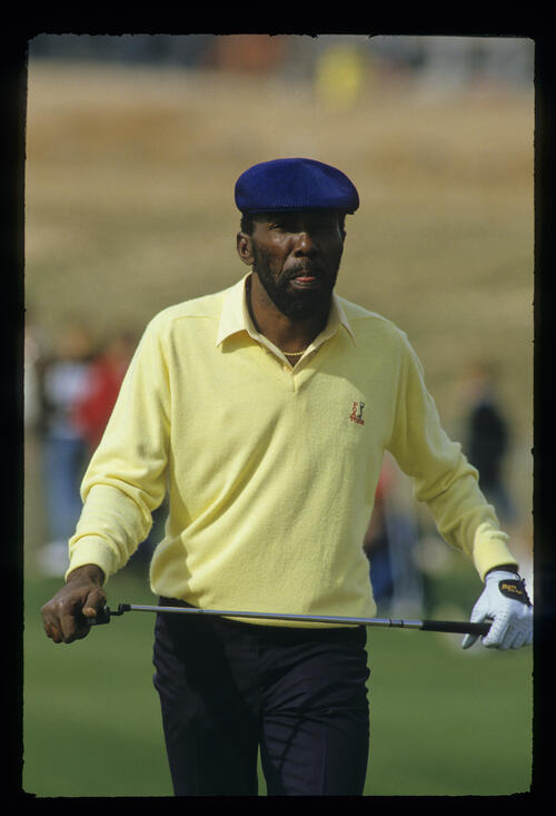 Calvin Peete looking determined on the green during the 1987 Phoenix Open