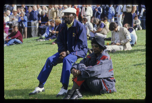 Calvin Peete and his wife watching the action during the 1985 Ryder Cup