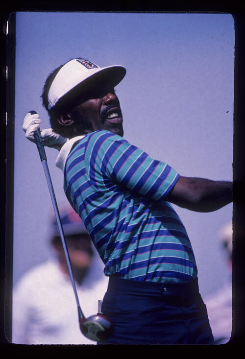 Calvin Peete reacting to a drive during the 1982 NEC World Series of Golf