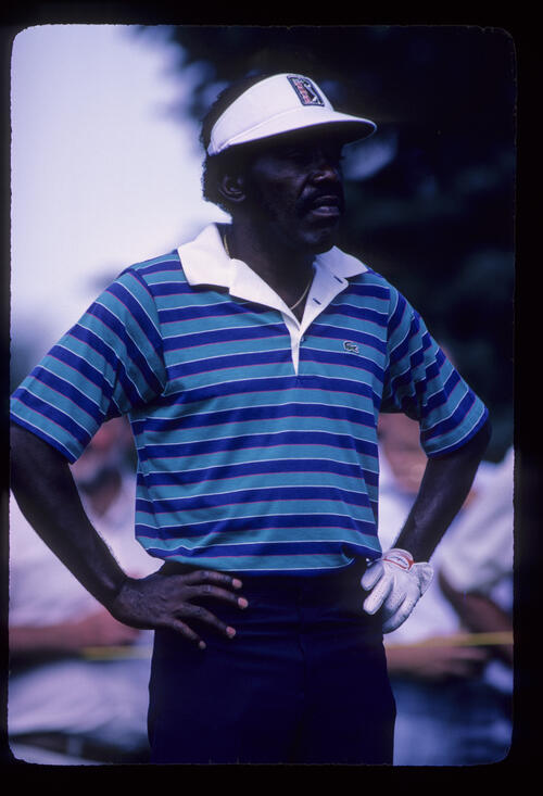 Calvin Peete looking thoughtful on the tee during the 1982 NEC World Series of Golf