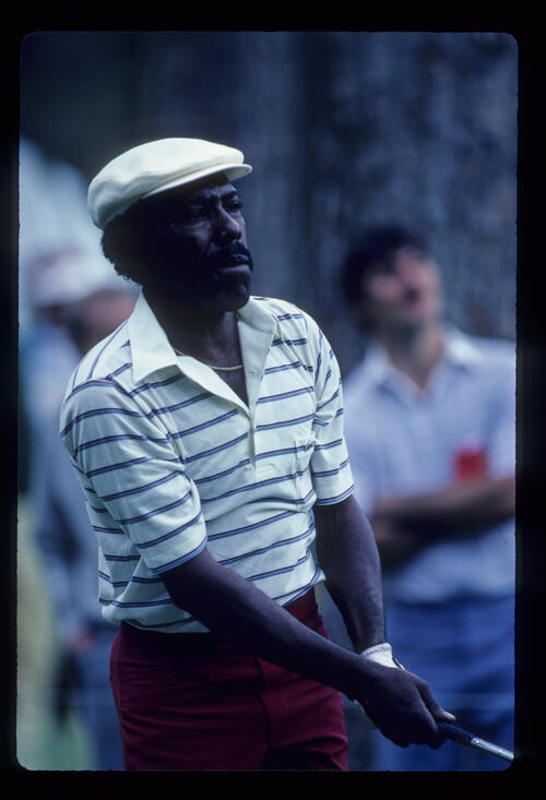 Calvin Peete watching closely from the tee during the 1983 TPC