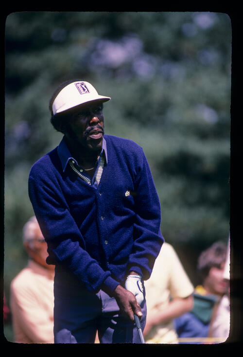 Calvin Peete watching closely from the tee during the 1982 NEC World Series of Golf