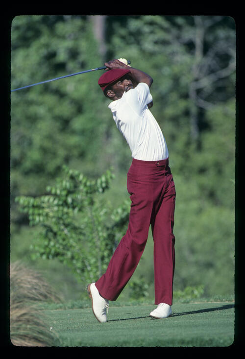 Calvin Peete following through on his way to winning the 1985 TPC
