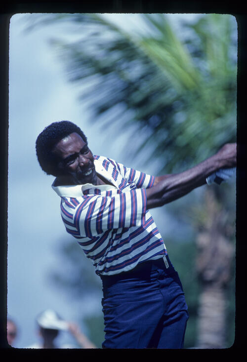 Calvin Peete following through on his way to fifth place during the 1982 Doral Eastern Open