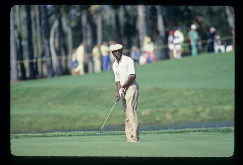 Calvin Peete putting on his way to winning the 1985 TPC