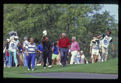 Jack Nicklaus, Gary Player and Arnold Palmer all smiling during the 1990 Senior Skins Game