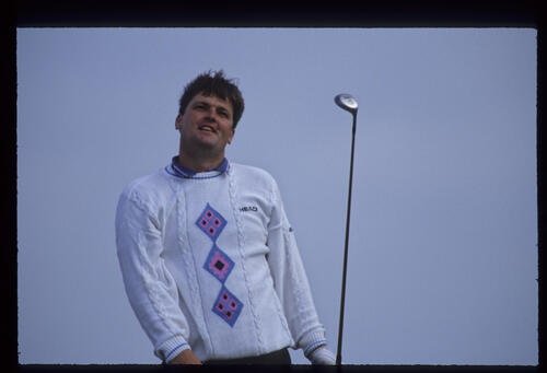Steven Richardson watching closely from the tee during the 1992 Open Championship