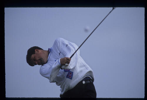 Steven Richardson following through on the tee during the 1992 Open Championship
