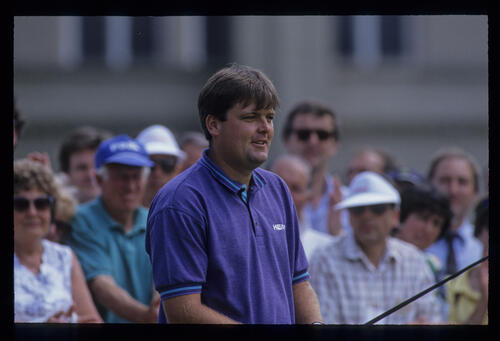 Steven Richardson on the tee during the 1992 Volvo PGA