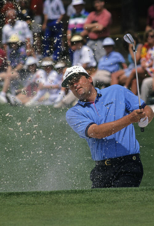 Steven Richardson splashing from a bunker during the 1992 Masters
