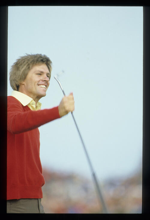 Bill Rogers smiling on his way to winning the 1981 Open Championship