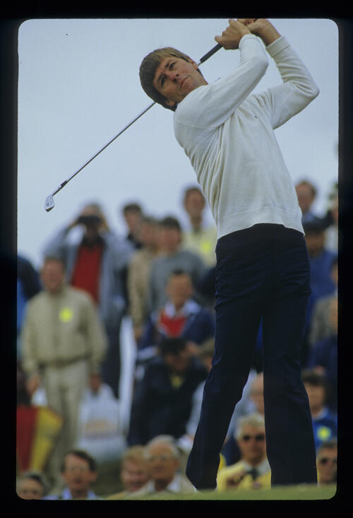 Bill Rogers following through on the tee during the 1985 Open Championship