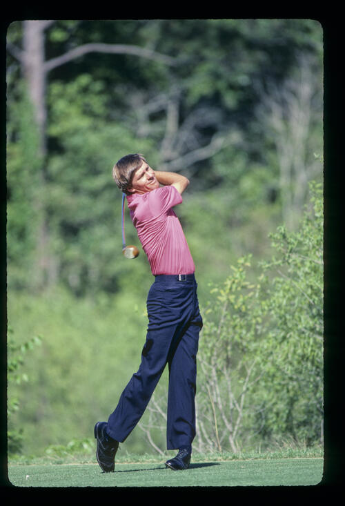 Bill Rogers following through on the tee during the 1985 TPC