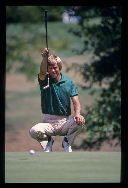 Bill Rogers plumb lining a putt during the 1982 World Series of Golf