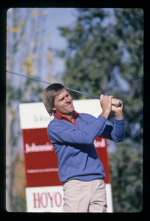 Bill Rogers watching his tee shot during the 1983 Johnny Walker Trophy
